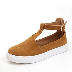 voordelige Damesschoenen met platte hak-Dames Platte schoenen Creepers Ronde Teen Gesp Canvas Zomer Zwart / Goud / Zilver