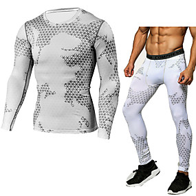 cheap Men's Activewear-JACK CORDEE Men's Activewear Set Workout Outfits Compression Suit Athletic Winter Thermal Warm Windproof Fitness Gym Workout Basketball Running Sportswear Skinny Blue and White White Black Red Army