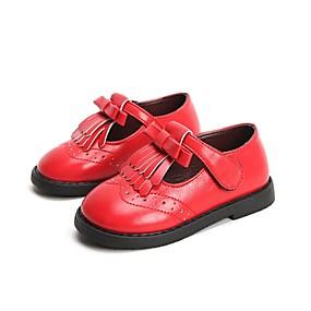 ราคาถูก Kids' Oxfords-เด็กผู้หญิง รองเท้าสาวดอกไม้ PU รองเท้า Oxfords เด็กน้อย (4-7ys) สีดำ / กาแฟ / แดง ฤดูร้อน