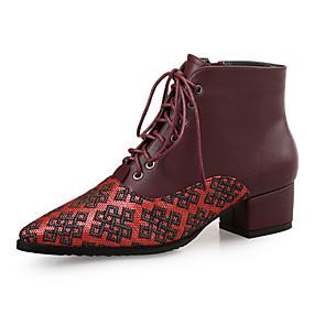 billige Mote Boots-Dame Støvler Tykk hæl Spisstå Fuskelær Ankelstøvler minimalisme Høst vinter Svart / Brun / Fargeblokk