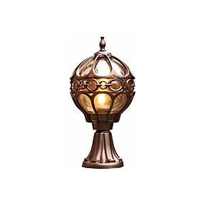 preiswerte Außenwandlichter-wasserdichte coloum lampe antike aluminium säule licht laterne für gardern innenhof glas lampenschirm außenwandleuchten