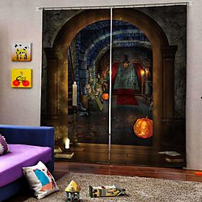 preiswerte Vorhänge und Gardinen-Devil Castle Hintergrund Vorhang einfaches Design UV-Digitaldruck schalldicht Verdunkelungsvorhang für Studie / Schlafzimmer / Wohnzimmer