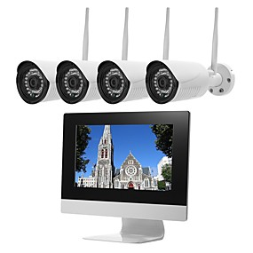 preiswerte Sicherheitssysteme-szsinocam @ 4ch kabelloses cctv-system h.264 audio record 2 mp 1080 p 4-kanal-nvr-kit mit 10,1 lcd wasserdichtem videoüberwachungs-kit für die bewegungserkennung im freien