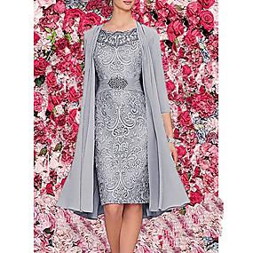 preiswerte Damen Kleider-Damen Elegant Zweiteiler Kleid - Druck, Solide Knielang