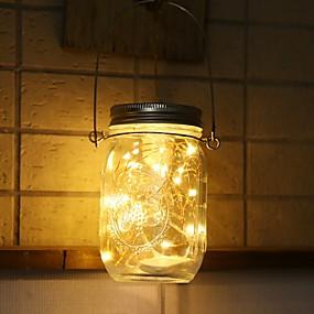 cheap Light Strips & Strings-Solar Mason Can Light Lantern LED String Fairy Star Firefly Jar ins decor Light Home Patio Garden Wedding Christmas Table Decor