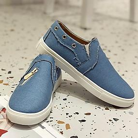 voordelige Damesschoenen met platte hak-Dames Platte schoenen Lage hak Ronde Teen Canvas Zomer Zwart / Marine Blauw / Roze