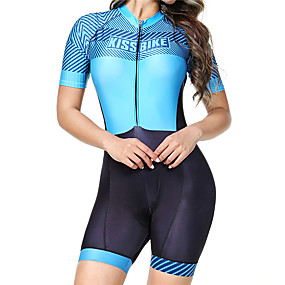 cheap Women-BOESTALK Women's Short Sleeve Triathlon Tri Suit Spandex Blue Stripes Bike Breathable Quick Dry Anatomic Design Back Pocket Moisture Wicking Sports Stripes Mountain Bike MTB Road Bike Cycling