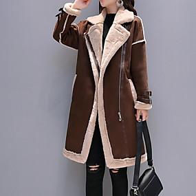 preiswerte Damenbekleidung-Damen Alltag Herbst Winter Lang Kunstpelz-Mantel, Einfarbig Gekerbtes Revers Langarm Polyester Schwarz / Kamel / Grau