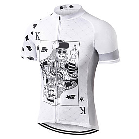 cheap Cycling & Motorcycling-21Grams Poker Men's Short Sleeve Cycling Jersey - White Bike Jersey Top Quick Dry Moisture Wicking Breathable Sports Summer Mesh Terylene Mountain Bike MTB Clothing Apparel / Micro-elastic / Race Fit