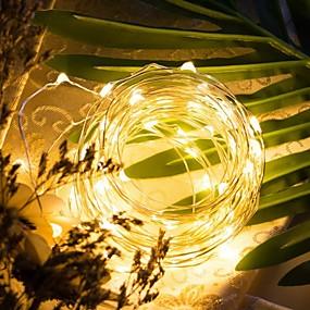 povoljno Svjetlosne trake i žice-LOENDE 5m Žice sa svjetlima 50 LED diode Toplo bijelo RGB Bijela Party Ukrasno Vjenčanje Baterije su pogonjene
