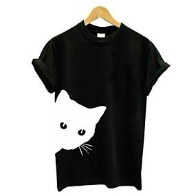 preiswerte Damenbekleidung-Damen Solide / Tier - Grundlegend T-shirt Patchwork Katze Schwarz