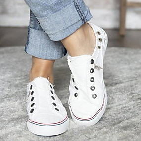 voordelige Damessneakers-Dames Sneakers Platte hak Ronde Teen Canvas Zomer Wit / Paars / Blauw