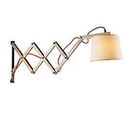 preiswerte Schwenkarm-Lampen-wandleuchte american country wandleuchte stoff rundschirm verstellbar deko licht für schlafzimmer wohnzimmer wandhalterung weiß
