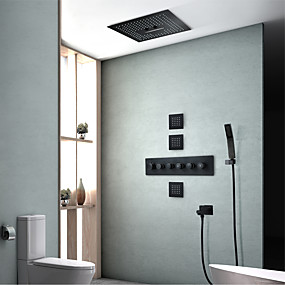 billige Dusjhoder-Dusjsett Sett - Hånddusj Inkludert LED Foss Moderne Malte Finishes Veggmontering Keramisk Ventil Bath Shower Mixer Taps