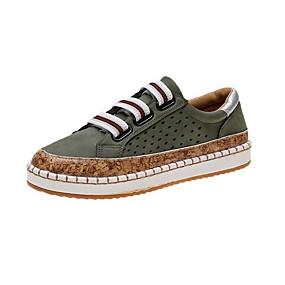 voordelige Damessneakers-Dames Sneakers Platte hak Ronde Teen PU Herfst Zwart / Groen / Rood