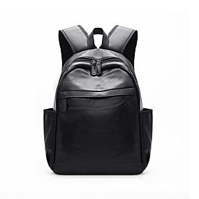 ราคาถูก Bags-Large Capacity PU ซิป กระเป๋าเป้สะพายหลัง สีทึบ ทุกวัน สีดำ / น้ำตาลเข้ม