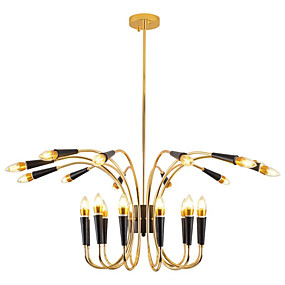 cheap Ceiling Lights & Fans-24 Bulbs LED Candle-style Chandelier / Industrial Pendant Light Ambient Light Gold Electroplated Metal Lamp for Living Room Shop Room Coffee Bar  220-240V Bulb Not Included