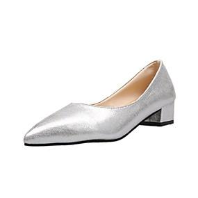 voordelige Damesinstappers & loafers-Dames Loafers & Slip-Ons Blokhak Gepuntte Teen PU Zomer Zwart / Zilver