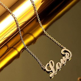olcso Nyakláncok-Személyre Személyre szabott Nyaklánc Név nyaklánc Titanium Acél Klasszikus Név Vésett Ajándék Ígéret Fesztivál Kör 1pcs Vörös arany Arany Ezüst