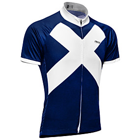 cheap Cycling & Motorcycling-21Grams Men's Short Sleeve Cycling Jersey Summer Sky Blue+White Scotland National Flag Bike Top Mountain Bike MTB Road Bike Cycling UV Resistant Quick Dry Moisture Wicking Sports Clothing Apparel