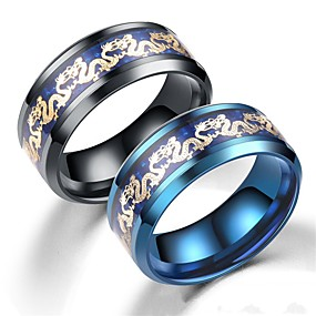 cheap Movie Night-Men's Women's Band Ring Ring Tail Ring 1pc Black Blue Stainless Steel Circular Basic Vintage Fashion Daily Jewelry Dragons Cool