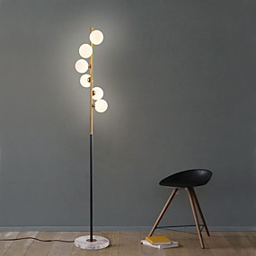 cheap Style Lighting-Nordic Modern Led Glass Ball Standing Luminaires Floor Lamp Crackle Large Indoor Lighting Art Spiral Simple Glass Ball Vertical