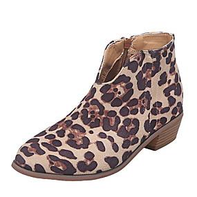 billige Mote Boots-Dame Støvler Flat hæl Spisstå Semsket lær Ankelstøvler Høst vinter Svart / Mandel / Leopard