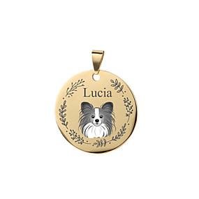 cheap Engraved Pet Tags-Personalized Customized Papillon Dog Tags Classic Gift Daily Round 1pcs Black Silver Rose Gold / Laser Engraving