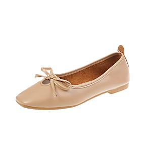 voordelige Damesschoenen met platte hak-Dames Platte schoenen Platte hak Ronde Teen Strik PU Vintage / Studentikoos Herfst Lichtbruin / Wit