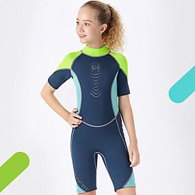 cheap Kid's-Dive&Sail Boys' Girls' Shorty Wetsuit 2.5mm CR Neoprene Diving Suit Anatomic Design High Elasticity Short Sleeve Back Zip Patchwork Autumn / Fall Spring Summer / Kids