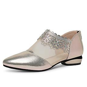 voordelige Damesinstappers & loafers-Dames Loafers & Slip-Ons Lage hak Gepuntte Teen Nappaleer / Netstof Zakelijk / minimalisme Lente & Herfst Zwart / Beige