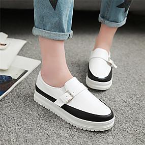 voordelige Damessneakers-Dames Sneakers Creepers Ronde Teen Gesp Imitatieleer Informeel Lente & Herfst Zwart / Zilver / Kleurenblok