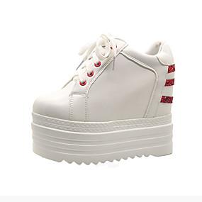voordelige Damessneakers-Dames Sneakers Verborgen hiel Ronde Teen PU Informeel Zomer Zwart / Wit / Kleurenblok