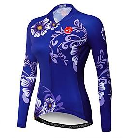 cheap Cycling & Motorcycling-21Grams Floral Botanical Women's Long Sleeve Cycling Jersey - Dark Blue Bike Jersey Top UV Resistant Quick Dry Moisture Wicking Sports Winter Elastane Terylene Polyester Taffeta Mountain Bike MTB