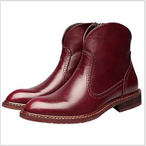 preiswerte Herrenschuhe-Herrn Komfort Schuhe PU Herbst Winter Stiefel warm halten Booties / Stiefeletten Schwarz / Braun / Rot