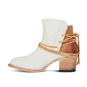 billige Mote Boots-Dame Støvler Flat hæl Spisstå PU Ankelstøvler Sommer Svart / Brun / Beige