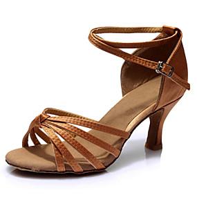 preiswerte Tanzschuhe-Damen Tanzschuhe Satin Schuhe für den lateinamerikanischen Tanz Absätze Schlanke High Heel Maßfertigung Braun / Leistung