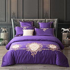 preiswerte Streu-Bettbezug-Sets Solide / Blumen / Pflanzen 100% Ägyptische Baumwolle Reaktivdruck / Stickerei / Gesteppt 4 StückBedding Sets