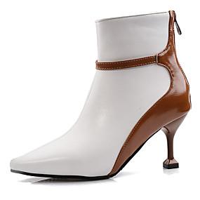 billige Mote Boots-Dame Støvler Heterotypisk hæl Spisstå Fuskelær Klassisk / Britisk Vår sommer / Høst vinter Svart / Hvit / Fest / aften / Fargeblokk