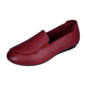 voordelige Damesinstappers & loafers-Dames Loafers & Slip-Ons Platte hak Ronde Teen Imitatieleer Informeel / minimalisme Herfst / Lente zomer Zwart / Rood