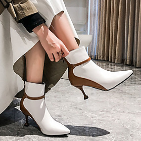 cheap Fashion Boots-Women's Boots Sculptural Heel Pointed Toe Faux Leather Classic / British Spring & Summer / Fall & Winter Black / White / Party & Evening / Color Block