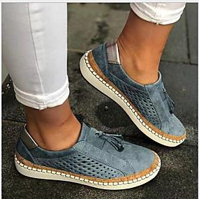 voordelige Damesschoenen met platte hak-Dames Platte schoenen Platte hak Ronde Teen PU Zomer Zwart / Groen / Marine Blauw