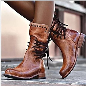 cheap Top Sellers-Women's Boots Comfort Shoes Flat Heel Round Toe PU Mid-Calf Boots Fall & Winter Black / Brown / Gray