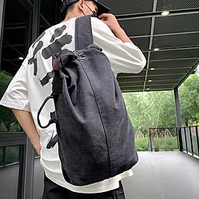 ราคาถูก Bags-Large Capacity ผ้าใบ กระดุม กระเป๋าเป้สะพายหลัง สีทึบ กลางแจ้ง สีดำ / สีน้ำตาล / สีเทา