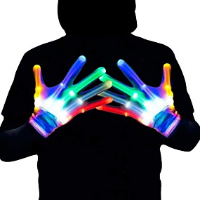 cheap Novelty Lights-Colorful Luminous Gloves 6 Patterns LED Gloves LED Magic Gloves Novelty Halloween Costume Party Decorative Gloves a Pair