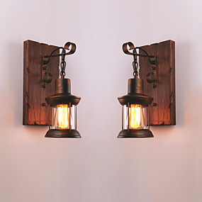 cheap Indoor Wall Lights-Creative Rustic Lodge Vintage Wall Lamps & Sconces Indoor Metal Wall Light 110-120V 220-240V 60 W