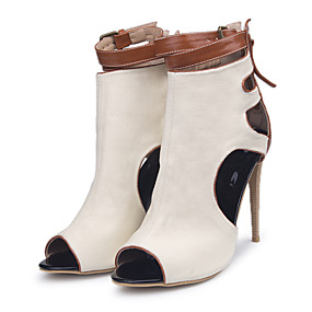 cheap Fashion Boots-Women's Boots Stiletto Heel Peep Toe Buckle Canvas Booties / Ankle Boots Spring & Summer Beige / Color Block