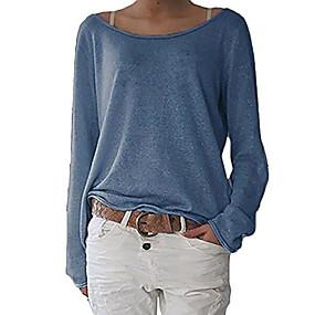 preiswerte FR Inspiration folk Adoptez le look bohème-Damen Solide Langarm Pullover Pullover Jumper, Rundhalsausschnitt Schwarz / Leicht Blau / Beige S / M / L
