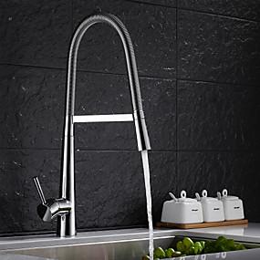 preiswerte Renovierung-Armatur für die Küche - Einhand Ein Loch Chrom Pull-out / Pull-down Mittellage Moderne Kitchen Taps