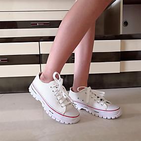 voordelige Damessneakers-Dames Sneakers Platte hak Ronde Teen Canvas minimalisme Wandelen Lente & Herfst / Lente zomer Zwart / Wit / Geel